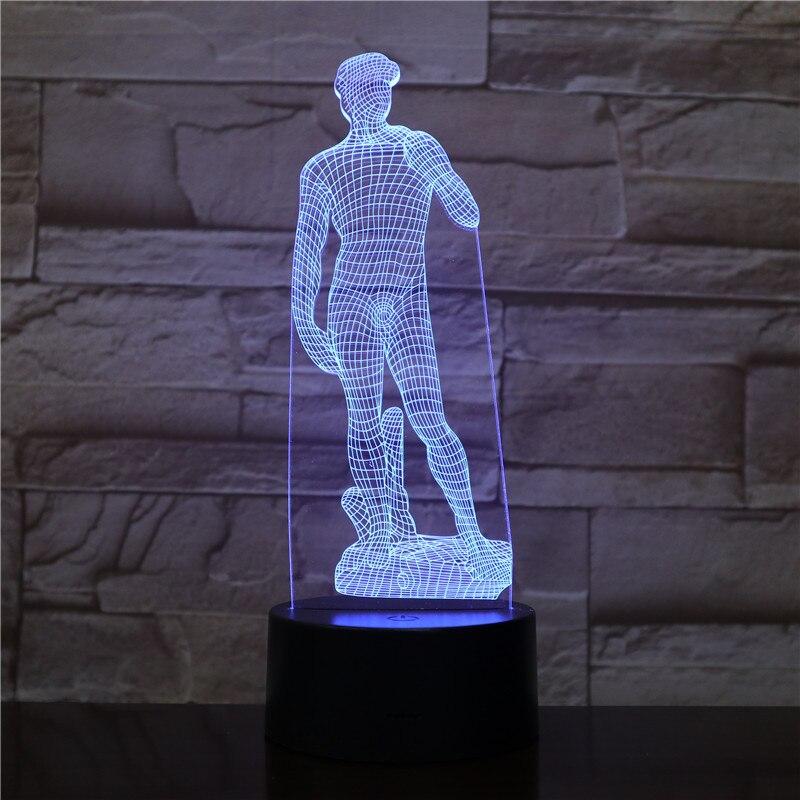 Michelangelo David 3D LED Night Light Sculpture Figure Touch Sensor RGB Decorative Lamp Child Kid David Sculpture Desk Lamp