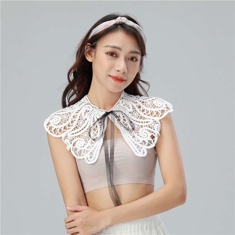 Women Peter Pan Neck Shirt Chiffon Cotton Fake Collar Tie Hollow Out Lace Flower Lapel Floral False Detachable Collar Blouse Top