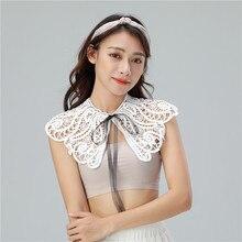 Women Peter Pan Neck Shirt Chiffon Cotton Fake Collar Tie Hollow Out Lace Flower Lapel Floral False Detachable Blouse Top