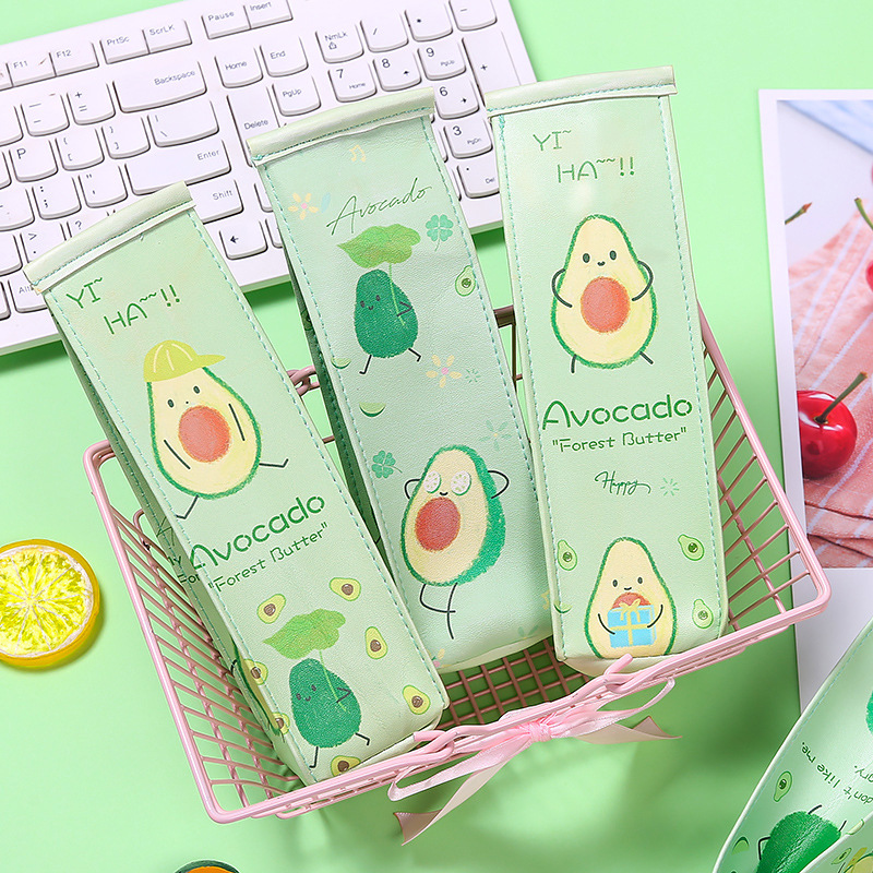 Avocado Milk Pencil Case Cute Kawaii Bag School Student Stationery Fruit Lovely Gift Pencil Cases For Girls Kids Children Boy