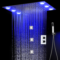 Thermostatic Shower Faucets Big Rainfall Electric LED Showerhead Body Jets Wall Massage 4 Inch Bathroom Kit Hot