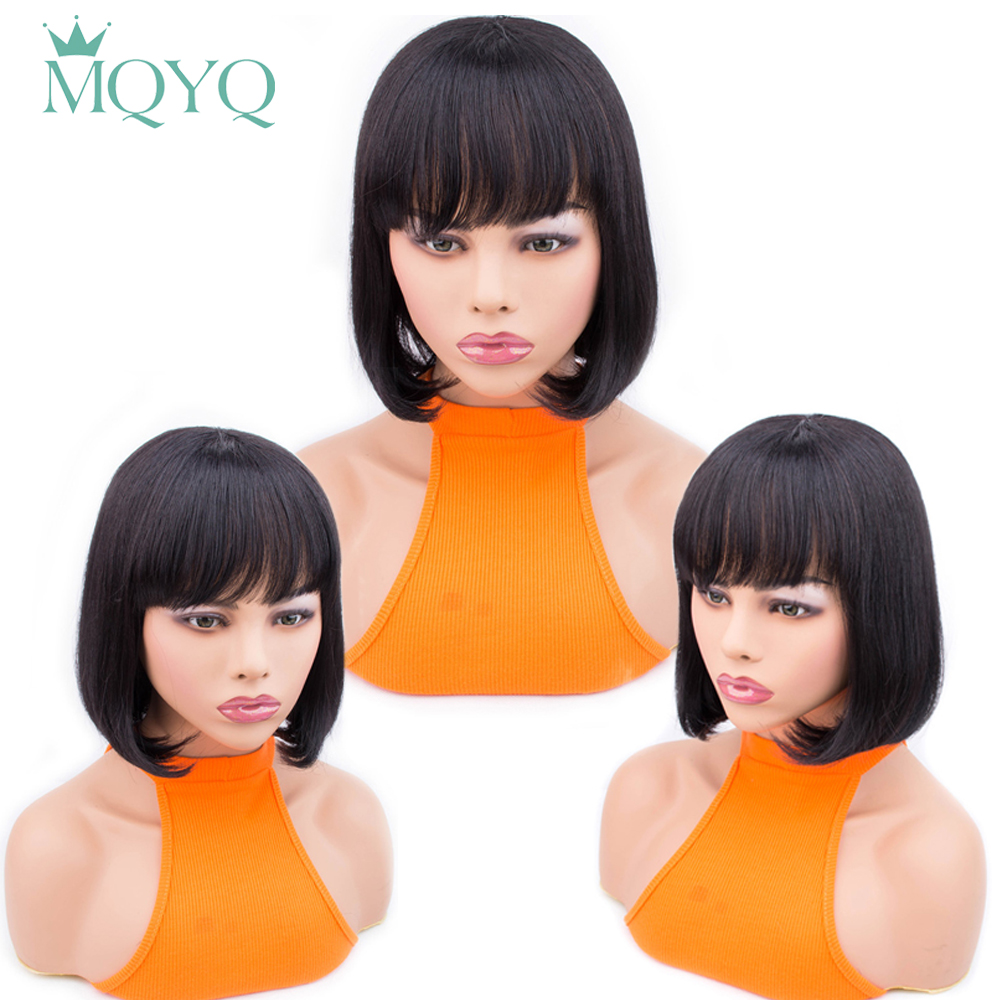 MQYQ Bob Wig Human Hair Wigs Brazilian Straight Short Human Hair Wigs Non-Remy With Baby Hair Adjustable Cap For Women