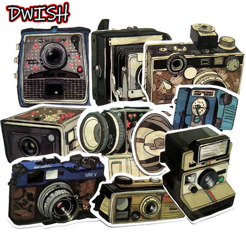 9Pcs/Lot Waterproof Vintage Camera Stickers Skateboard Suitcase Guitar Luggage Laptop Phone Graffiti Stickers Kids Classic Toys