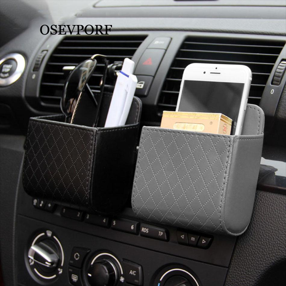 PU Leather Car Phone Holder Organizer Storage Box Bag Car Air Vent Phone Holder Dashboard Hanging Holder Voiture Accessories 11