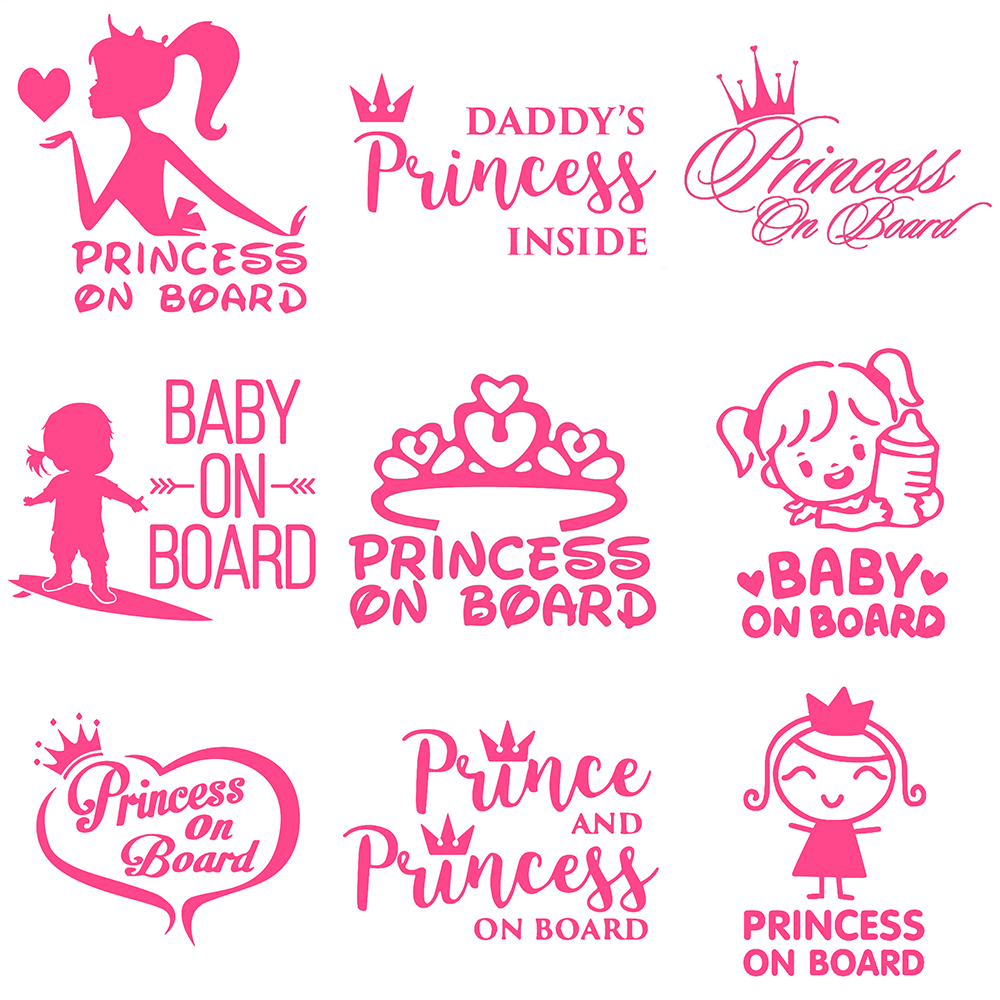 Pink Sparkly Princess Like Child on Board Car sign