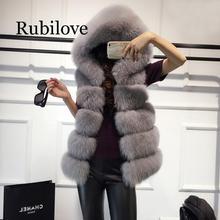Rubilove 2019 fur long section super Dalian hat thick vest imitation fox hair coat