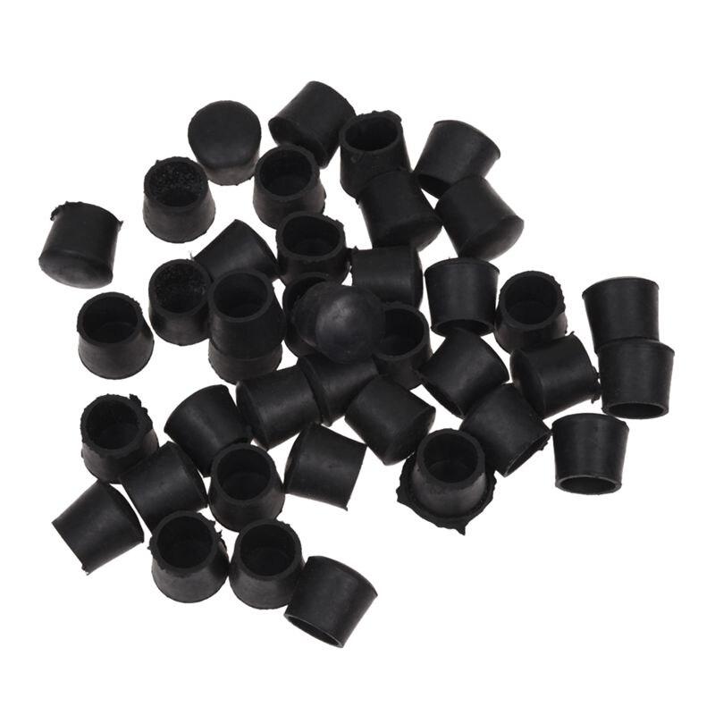 40 Pcs Black Rubber Chair Table Feet Pipe Tube Tubing End Caps 14mm