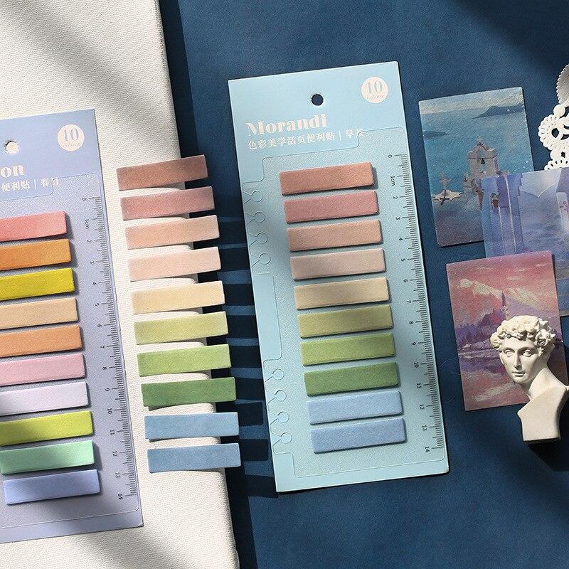 1PCS Morandi Gradation Color PET Waterproof Planner Stickers Index Bookmark Memo Pad Stationery Sticky Notes School Supplies