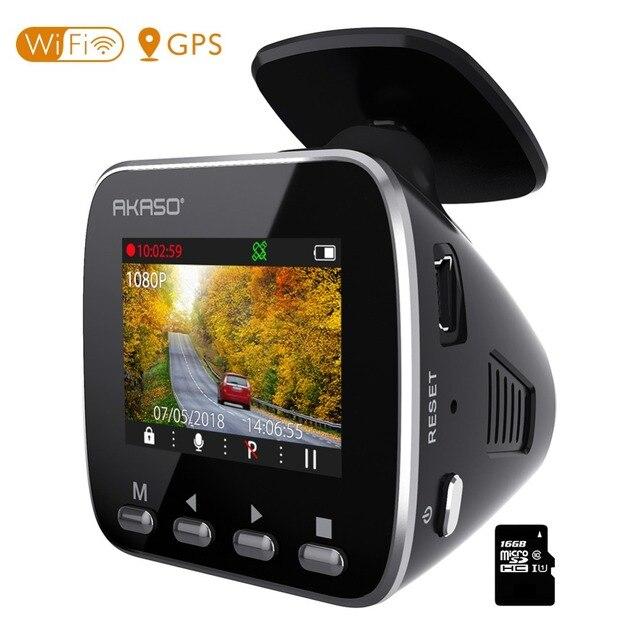 AKASO V1 HD WiFi Car Dash Camera DVR Car Dash Cam with GPS APP 16GB Night Vision Loop Recording G-Sensor Parking Monitor 1