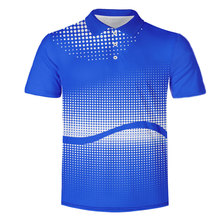 WAMNI 3D рубашка-поло для тенниса дышащая градиентная Молодежная Геометрическая Мужская Спортивная свободная новая синяя рубашка поло быстросохнущая рубашка