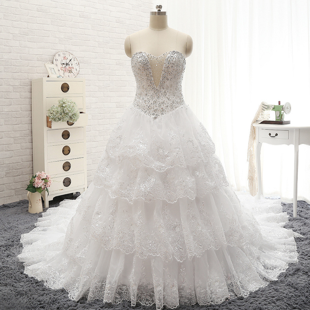 Luxury Rhinestone Beading Appliques Sweetheart Tiered Train Shining Ball Gown Crystal Lace Wedding Dress Vestido De Noiva Curto