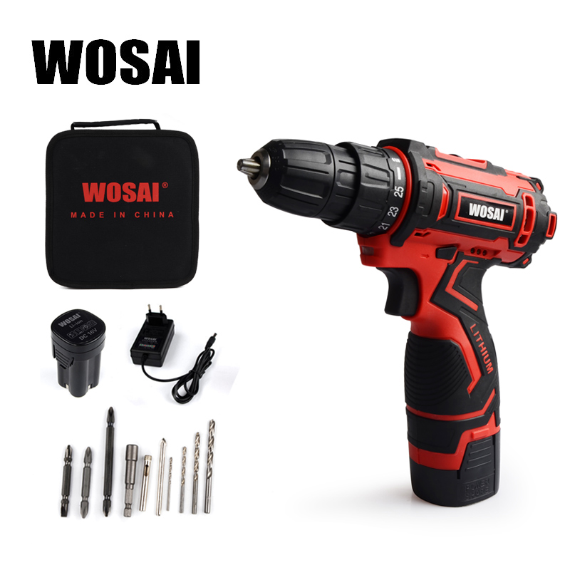 WOSAI <font><b>16V</b></font> Electric Screwdriver <font><b>Battery</b></font> Screwdriver Cordless Drill Power Tools Electric Torque Screwdriver Electric Drill image