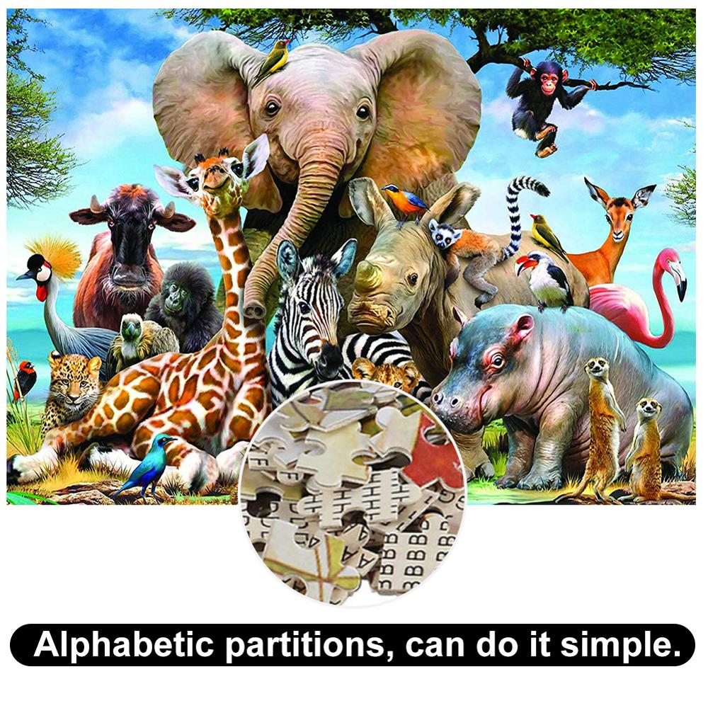 1000 Pieces Of Adult Decompression Children's Educational Jigsaw Puzzle Animal World Landscape Architecture Educational Toys