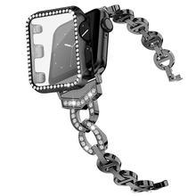 Чехол с ремешком для apple watch se series 6 5 4 3 2 1 стразы