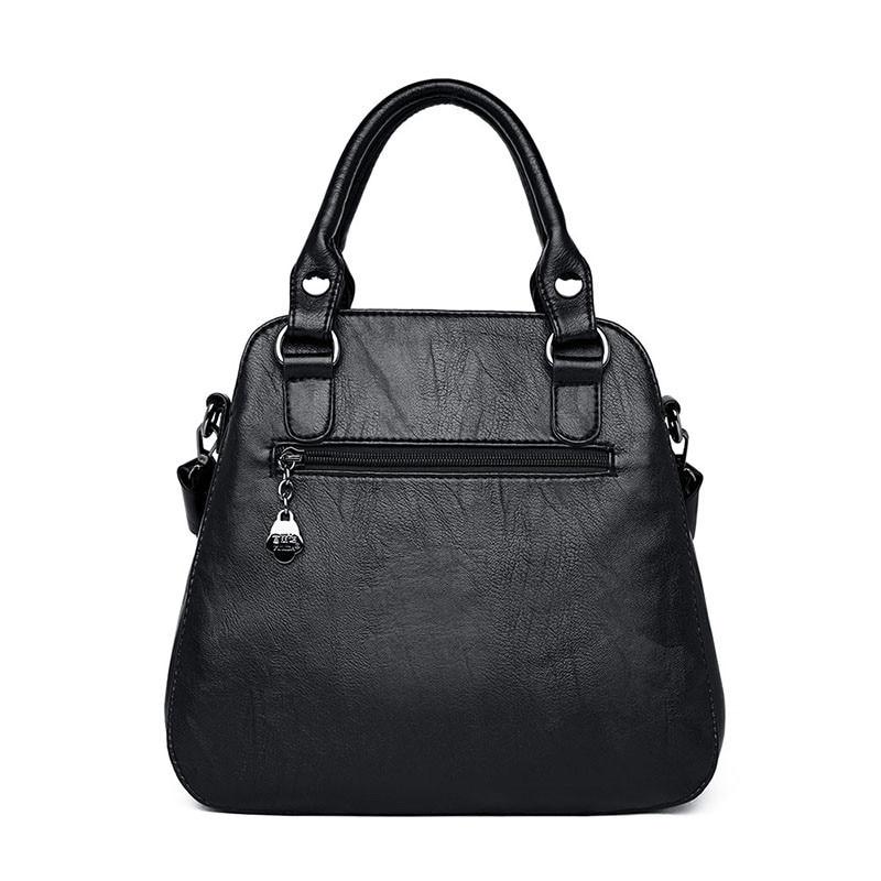 Image 4 - Black Paid Women Casual Totes Bag Female Handbags Large Big Size  Woman Shoulder Bag for Ladies Vintage Genuine Leather Hand  BagsTop-Handle Bags