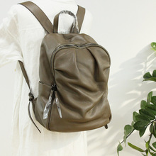 Classic Folds Design Backpack Women Genuine Leather Travel Bag