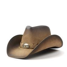 36 Stlye 100% Degli Uomini del Cuoio Cappello Da Cowboy Occidentale Per Le Signore Papà Cowgirl Sombrero Hombre Berretti Formato 58-59 CENTIMETRI