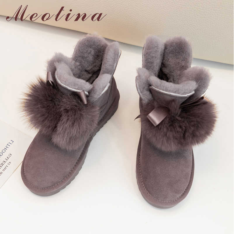 Meotina Women Boots Warm Wool Snow Boots Cow Suede Flat Ankle Boots Real Leather Real Fur Short Shoes Ladies Winter Size 40