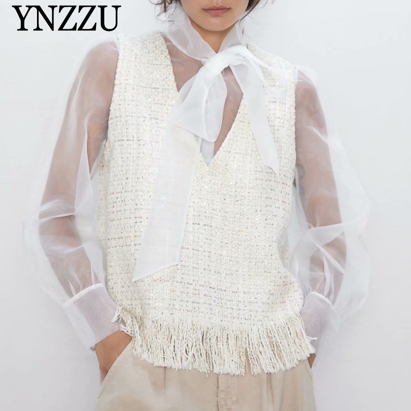 White Tweed Organza Patchwork Women Blouse Bow Sexy Perspective Female Tops Loose Chic Long Sleeve Shirt 2019 Autumn YNZZU YT721