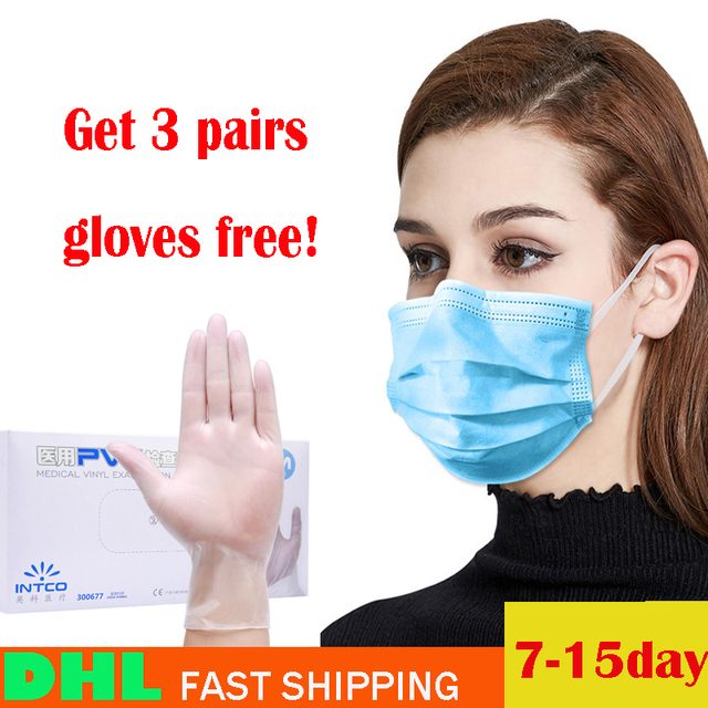 100Pcs Mask 3Ply Nonwoven Disposable Elastic Prevent Flu Hygiene Filter Mask Facial Protective Fabric Mouth Mask Anti Pollution