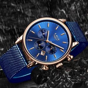 Image 4 - LIGE New Mens Watches Male Fashion Top Brand Luxury Stainless Steel Blue Quartz Watch Men Casual Sport Waterproof Watch Relojes