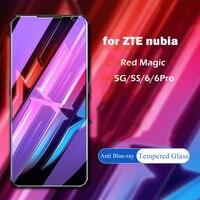 Protecteur d'écran pour ZTE Nubia Red Magic 5G Lite 5s 6Pro, Film de protection avant transparent en verre trempé bleu pour RedMagic 6 Pro