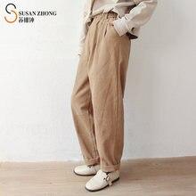 Женские брюки женские прямые отворотами манжеты с эластичной
