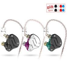 KZ ZSN 1BA + 1DD Schwere bass kommutativ kabel kopfhörer HIFI Quad core gesteuert musik bewegung ZST AS10 ZS10 BA10 ES4 V80 T2 AS16