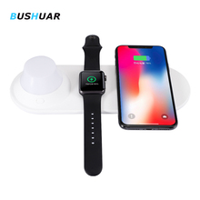 3 in 1 Qi Wireless Charger Pad Night light for iPhone 8 X XS Max XR for Apple Watch 4 3 2 1 10W Fast Charger For Samsung S10 S9
