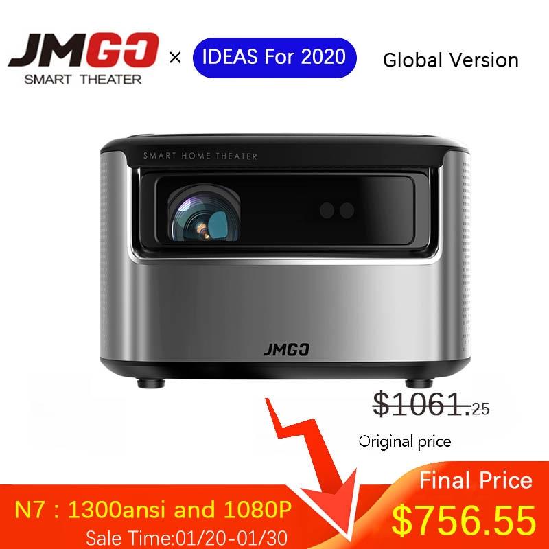 JMGO N7 1080P DLP projecteur 1300 Ansi Full HD prise en charge 4K TV vidéo avec Android Wifi 3D Home cinéma Smart Beamer lumière LED