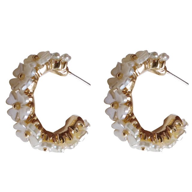 S925 agulha flor brincos moda jóias chapeamento de ouro branco resina hoop brincos feminino jóias menina estudante presentes para festa 6
