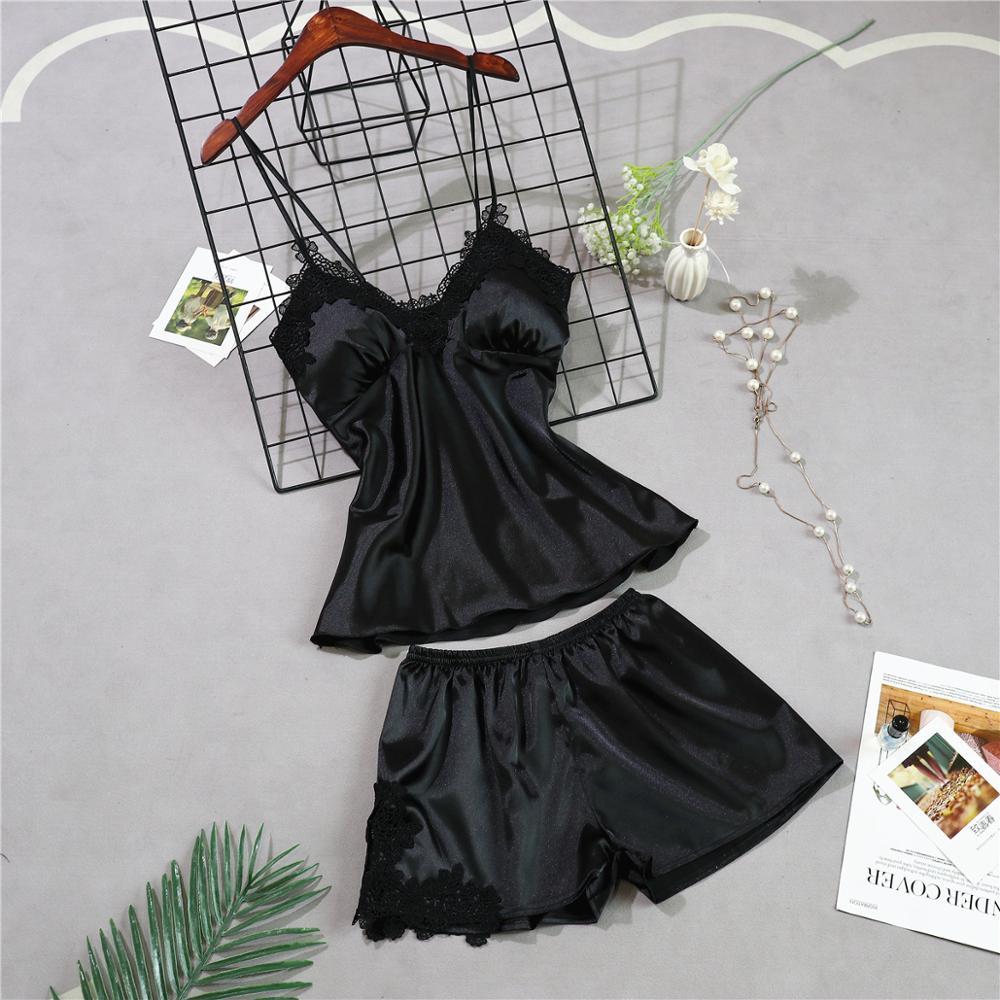 Женские пижамы, 5 шт., атласная пижама, шелковая Домашняя одежда, домашняя одежда, вышивка, Пижама для сна, для отдыха, пижама с нагрудными накладками - Цвет: black A