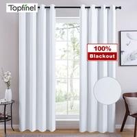 Topfinel-cortinas opacas de 100% sólido blanco para dormitorio, sala de estar, tratamiento de ventanas, persiana opaca moderna