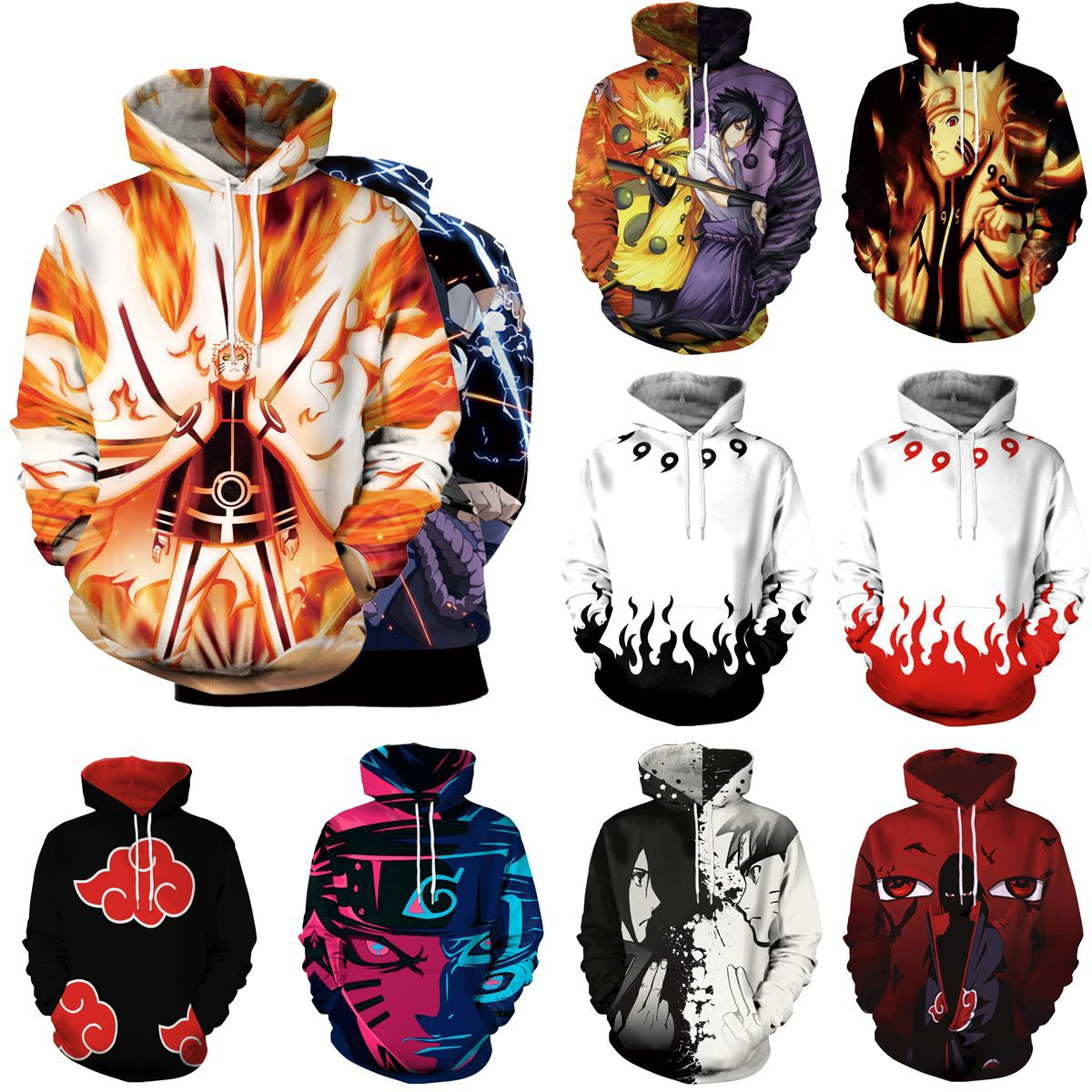 Kids Anime Naruto Pocket Hooded Sweatshirts Sasuke 3D Hoodies Hot Animation Pullovers Tracksuits Men/Women Long Sleeve Outerwear