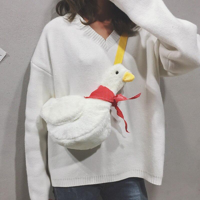 2020 New Fashion Women Messenger Bag Cartoon Duck Casual Shoulder Bags Cute Children Girls Plush Backpack Handbag Sac A Main