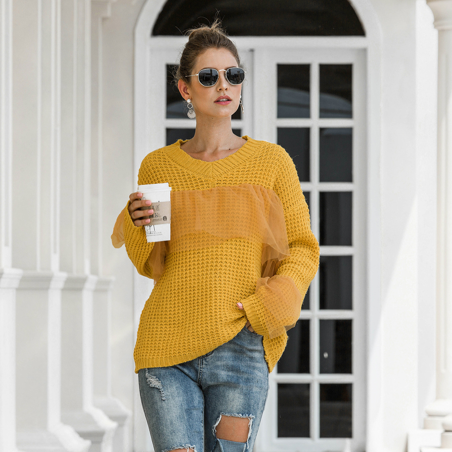Woman Sweater Autumn Winter Long Sleeve Pullover Lace Casual Female Jumper Flare Sleeve Loose Knitted Sweater 2020 Pull Femme
