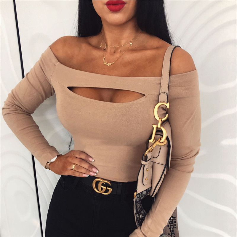 Fashion Women Sexy T Shirt Femme Off Shoulder Long Sleeve Tee Shirt Elegant Bandage Stretch Party Club Tshirt Streetwear