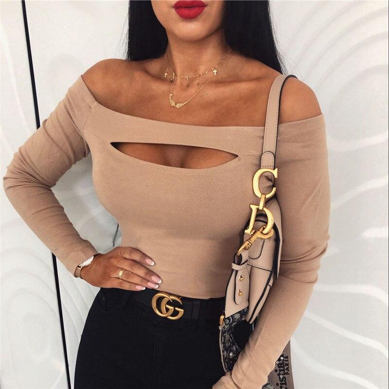 Fashion Women Sexy T Shirt Femme Off Shoulder Long Sleeve Tee Shirt Elegant Bandage Stretch Party Club Tshirt Streetwear