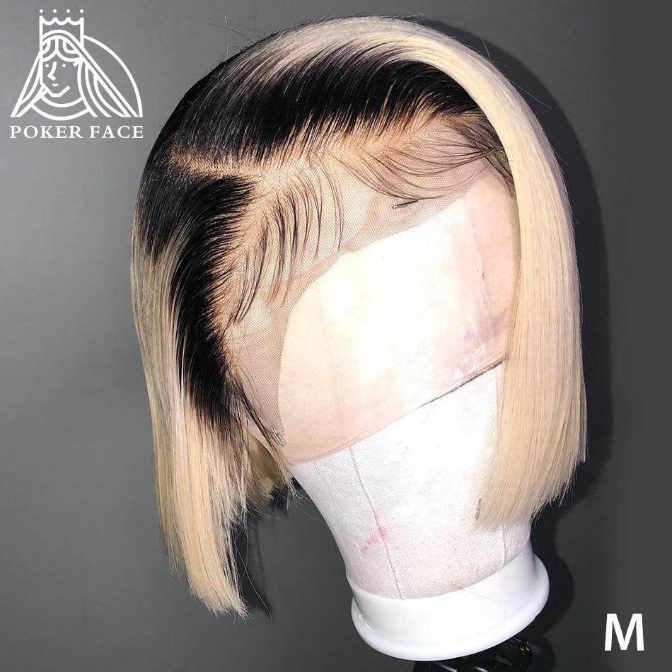 Poker Face Straight 613 Blonde 13x4 Lace Front Wigs T/1B 613 Short Bob Wigs Brazilian Human Hair Wigs 150% Density Remy Hair