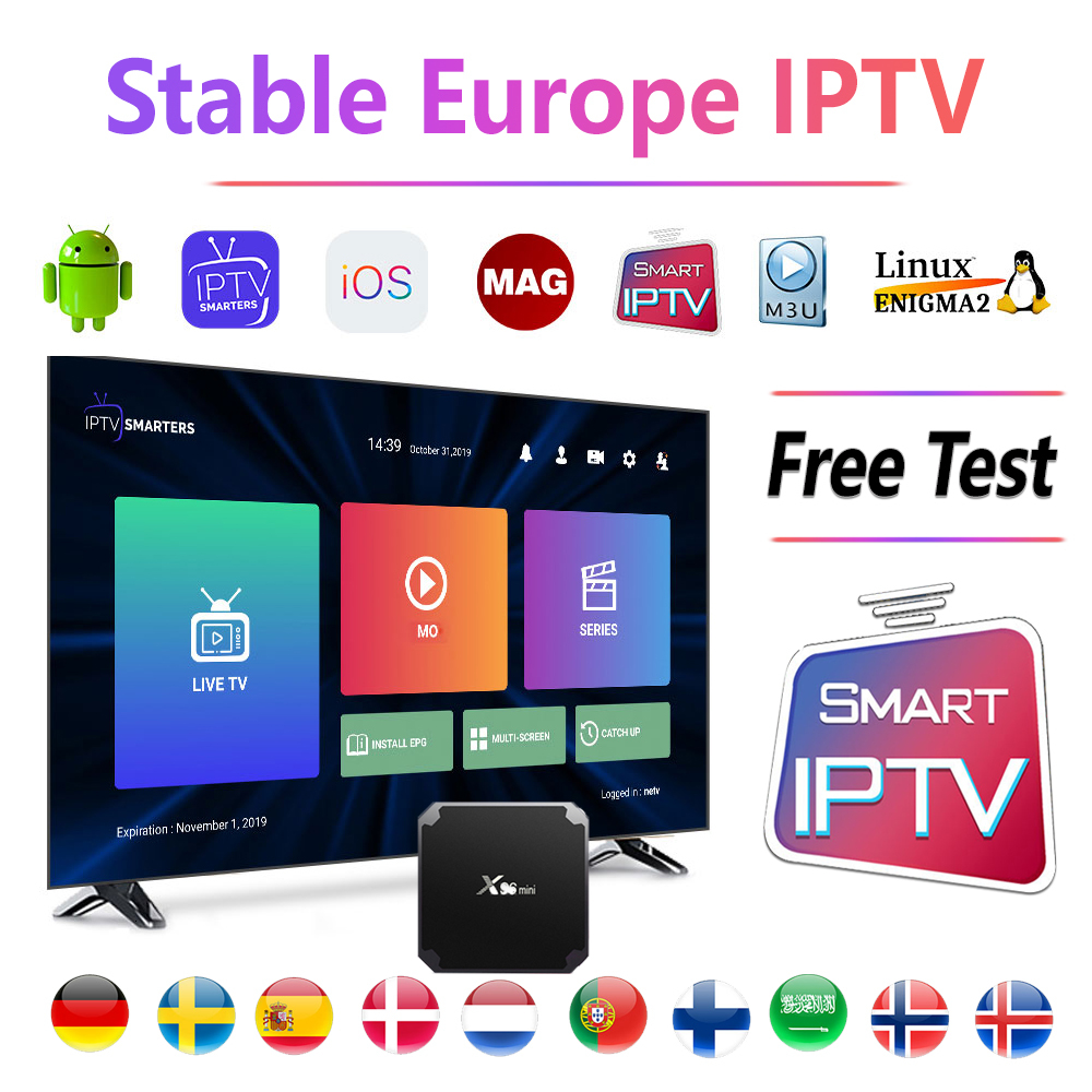 Stable IPTV Europe Spain Sweden Germany Arabic <font><b>Belgium</b></font> Poland for Smart IPTV M3u MAG Android tv box only no channels included image