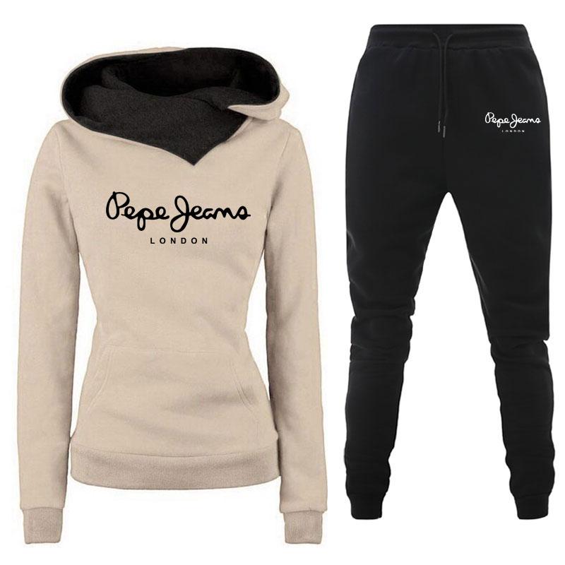 Winter Casual Tracksuit Women 2 Piece Set Hoodies+Pants Sportwear Women's Sports Suit Hooded Sweatshirt Set Female Clothes 1
