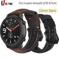 Para AMAZFIT GTR 47mm banda de reloj de cuero para Xiaomi Huami AMAZFIT ritmo Stratos 2/2S Correa de 22mm pulsera deportiva de repuesto Correa