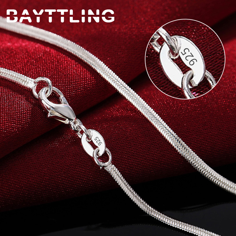 BAYTTLING 925 Sterling Silver 16/18/20/22/24/26/28/30 Inch 2MM Flat Snake Chain Necklace For Woman Man Fashion Gift Lady Jewelry