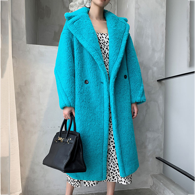 X-long Solid Jacket Teddy Bear Women Coat Winter 2019 New Brand Thick Warm 100% Real Wool Sheep Fur Coats Plus Size Clothing