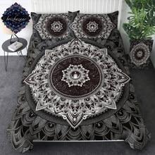 Juego de cama de Mandala de Brizbazaar, funda de edredón con flores blancas y negras, juego de cama de universo misterioso, ropa de cama Bohemia Vintage de piedras preciosas