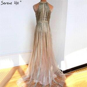 Image 2 - Dubaj złoto bez rękawów Sexy line suknie wieczorowe 2020 diamentowe koralikowe frędzelki formalna sukienka Serene Hill LA70357