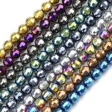 JHNBY-96 perles de Football autrichien à facettes, en cristal, taille 50pcs, 6mm, perle ronde, ample, bijoux, accessoires, fabrication, bricolage