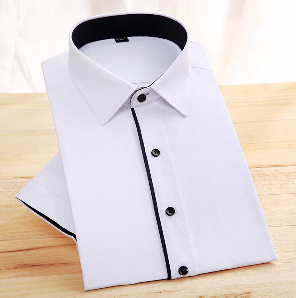 2019 Hot Summer Solid Color Shirt Men's  Sleeve White Shirt Maa1 Clothes Summer Thin Cotton  KJJ-03