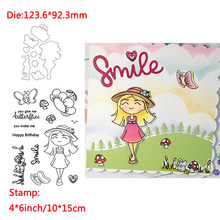 A Smiling Girl Animal Butterfly Words Transparent Clear Silicone Stamp& Dies For DIY Scrapbooking/Photo Album Decor Card Making(China)