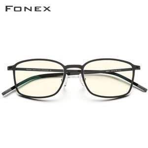 Image 3 - FONEX جودة عالية TR90 مكافحة نظارات الضوء الأزرق الرجال نظارات القراءة حماية نظارات كمبيوتر ألعاب نظارات للنساء AB01